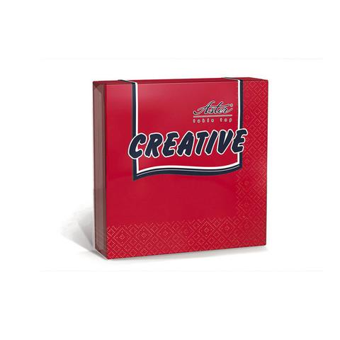 Салфетки бумажные Aster Creative 33x33 см красные 3-слойные 20 штук в упаковке