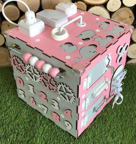 Бизикуб стандарт 30х30 см комплектации Розовый для девочки