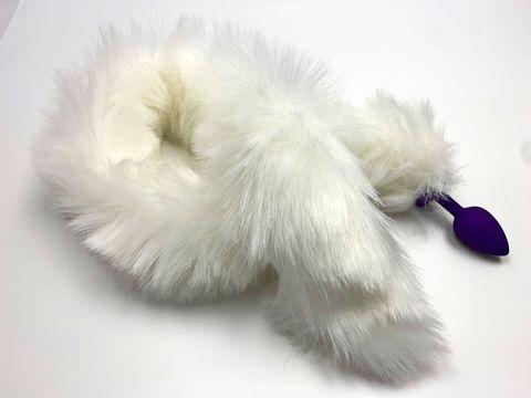 Фиолетовая анальная пробка с белым длинным хвостом
