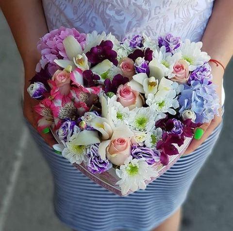 Сердце с экзотическими цветами 1