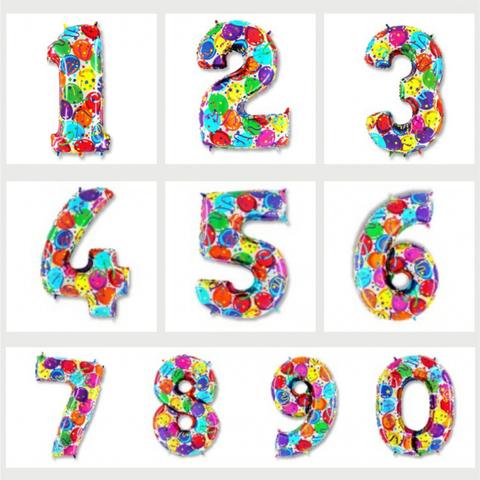 Цифра фольгированная в шарах 91 см.
