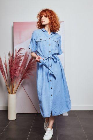CAPPELLINI Платье-рубашка льняное
