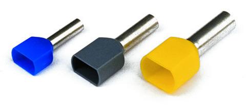DKC / ДКС 2ART5042YXXL Наконечник-гильза штыревой втулочный, с изолированным фланцем, для сечения провода 1,00мм2, длина контактной части 18мм, для двух проводов, желтый (НШВИ2)