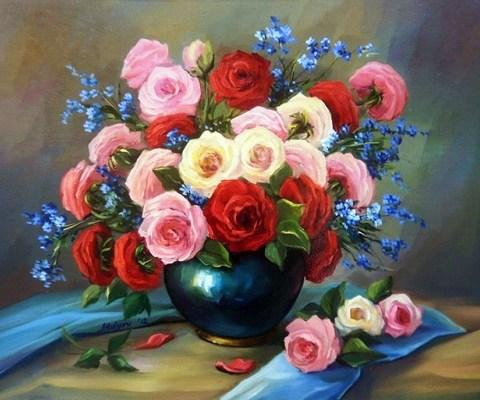 Алмазная Мозаика 30x40 Букет из белых, розовых и красных роз (арт. S3259)
