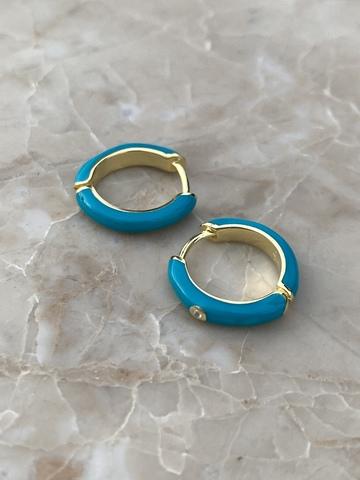 Серьги конго из позолоченного серебра с голубой эмалью