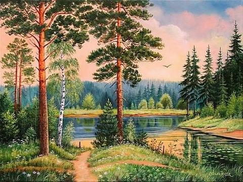 Алмазная Мозаика 40x50 Тропинка к озеру (арт. GA73306)