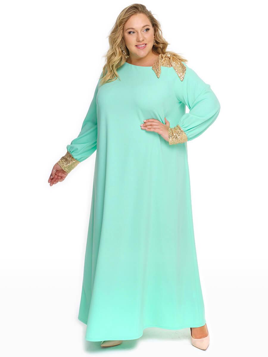 Длинное платье большого размера салатового цвета