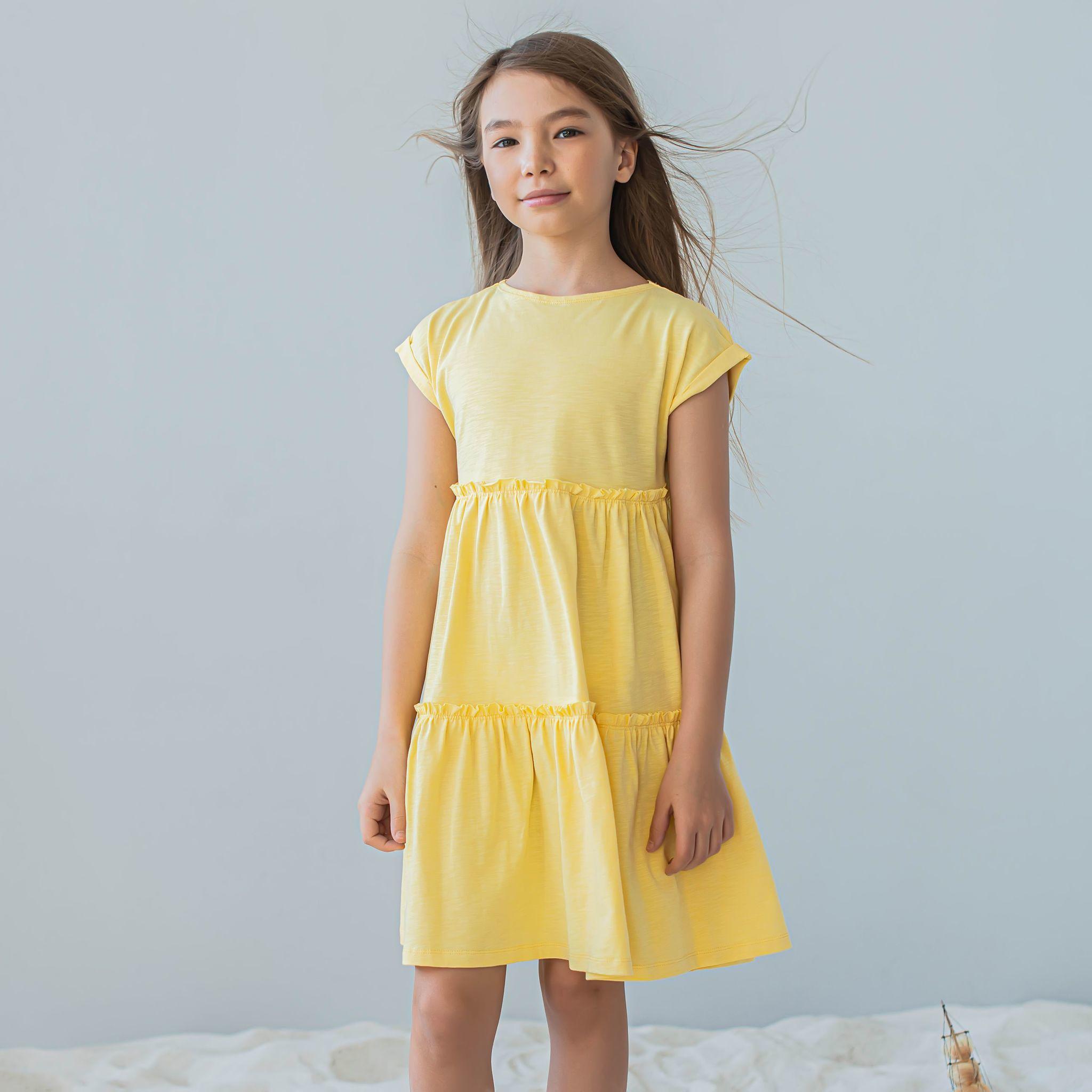 Dress with flounce for teens - Daffodil