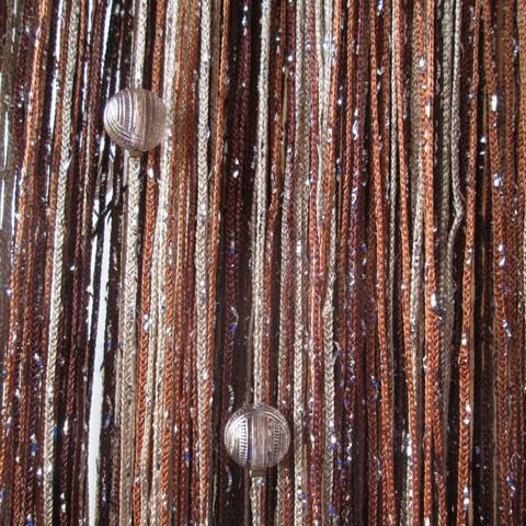 Шторы дождь радуга с шарами - Коричневые, св.коричневые, бежевые. Ш-300см., В-280см. Арт.8-10-14