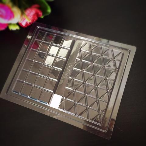 Пластиковая форма для шоколада бол. ПЛИТКА БОЛЬШАЯ 2в1 треугольники и квадраты 170х100мм