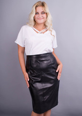 Маіна. Офісна блуза великих розмірів. Білий.