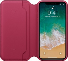 Клип-кейс Apple Leather Folio для iPhone X (лесная ягода)