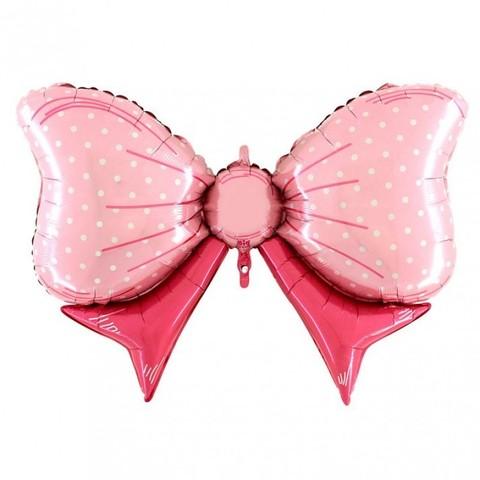 Воздушный шар фигура Бант, розовый, 109 см