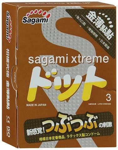 Презервативы Sagami Xtreme Feel Up с точечной текстурой и линиями прилегания - 3 шт.