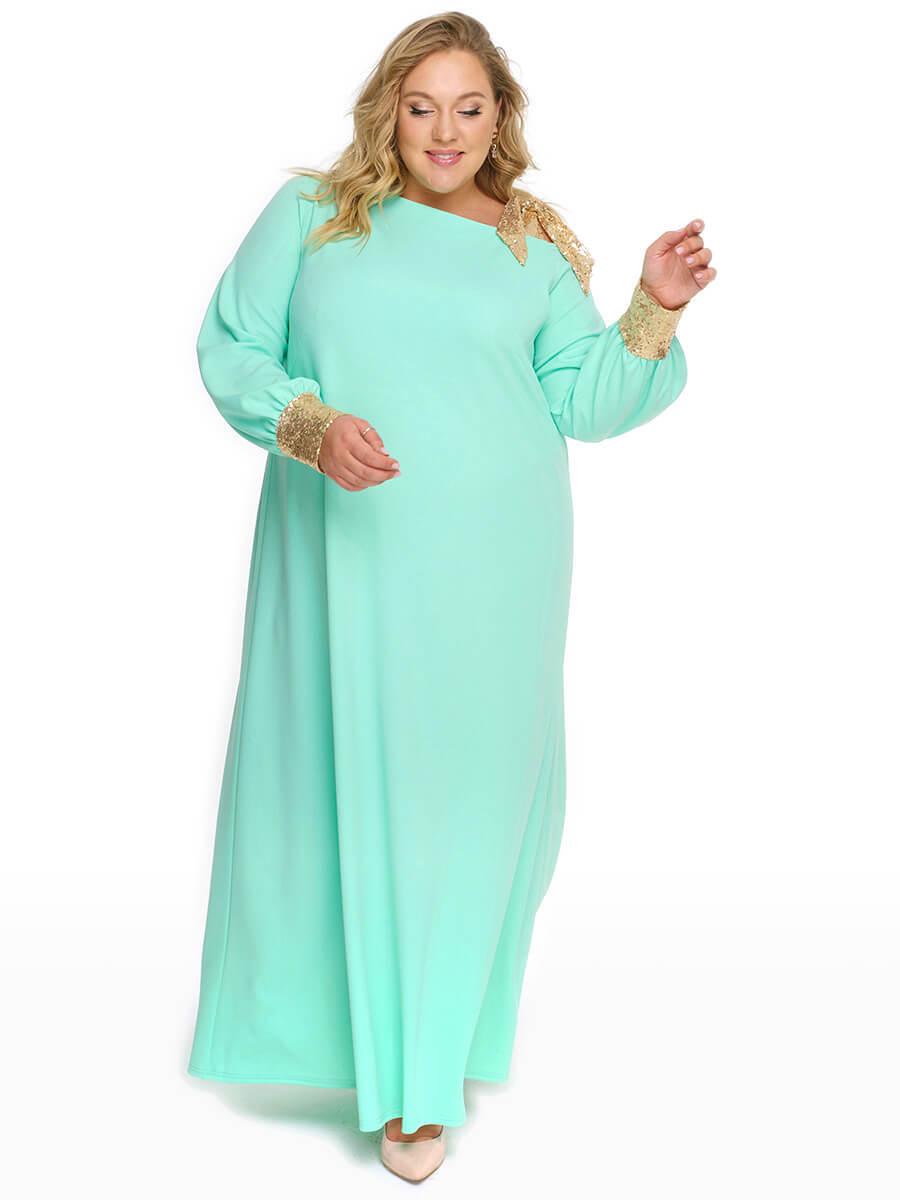 Светло зеленое длинное вечернее платье 74 размера
