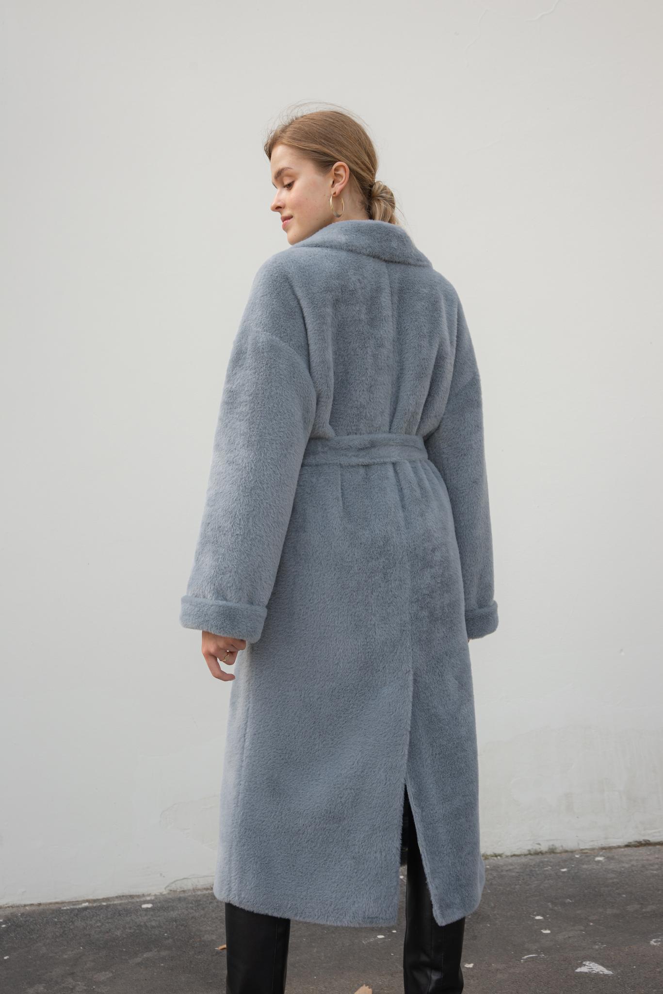ЭКО-шуба серо-голубая