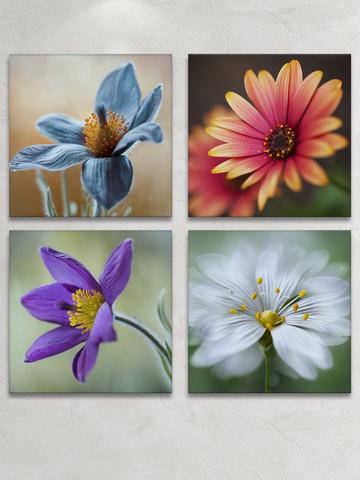 Картина на стекле четырёхмодульная Распустившийся цветок