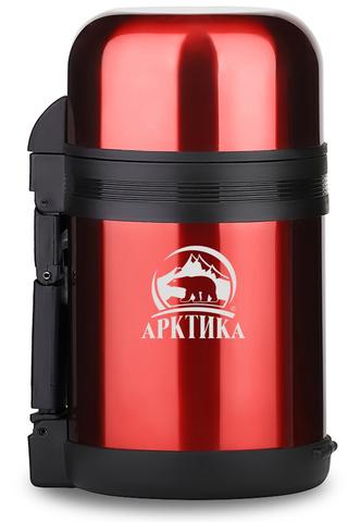 Термос универсальный (для еды и напитков) Арктика (0,8 литра) с широким горлом, красный
