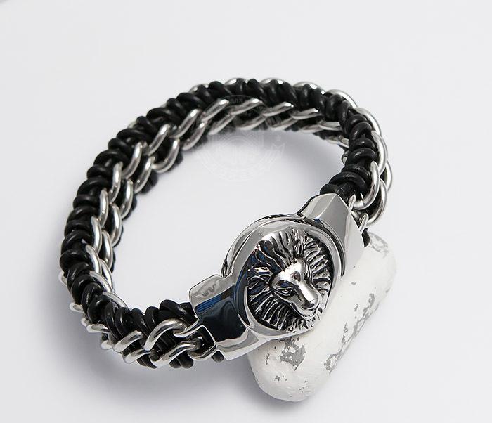BM483 Мужской браслет со львом из стали и кожи (20 см) фото 06