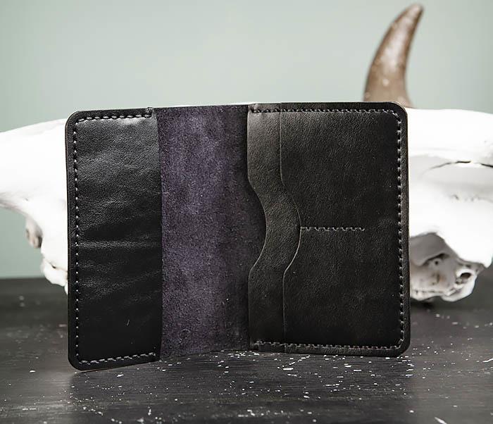WB177-1 Обложка для паспорта из черной натуральной кожи фото 08
