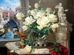Картина раскраска по номерам 40x50 Букет и статуя у окна в Венеции