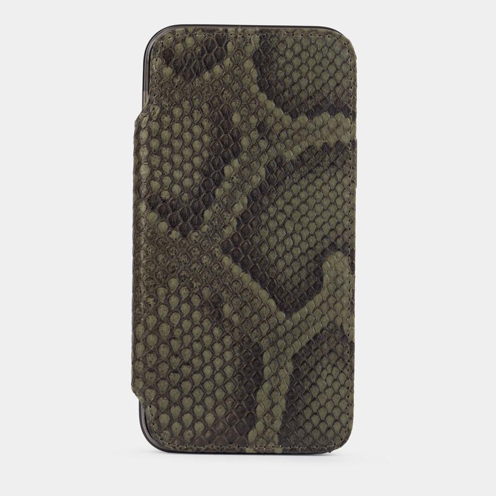 Чехол Benoit для iPhone 12/12Pro из натуральной кожи питона, зеленого цвета