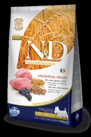купить Farmina N&D Ancestral Grain Lamb & Blueberry Adult Mini сухой низкозерновой корм для взрослых собак мелких и карликовых пород