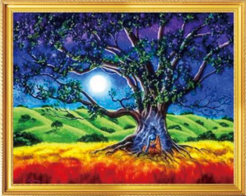 Алмазная Мозаика 40x50 Дерево в цветах радуги