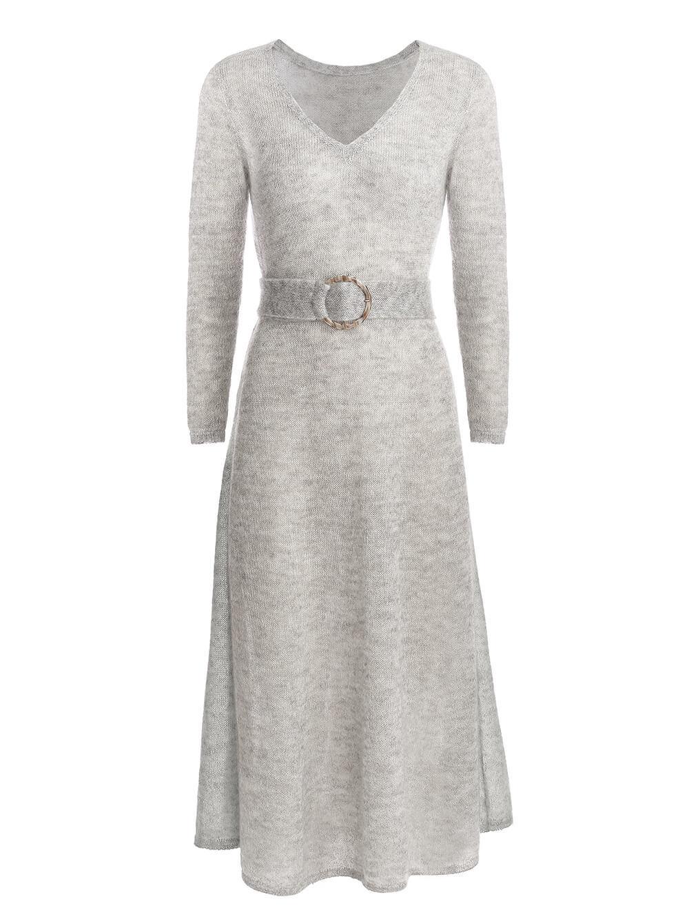 Женское платье светло-серого цвета из мохера - фото 1