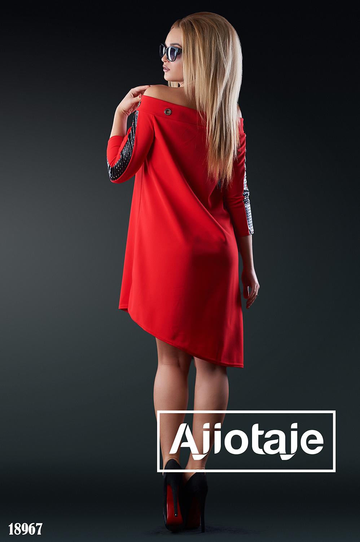 Ассиметричное платье с кожаными вставками