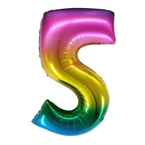 Цифра радужные разноцветные, градиент, 86 см