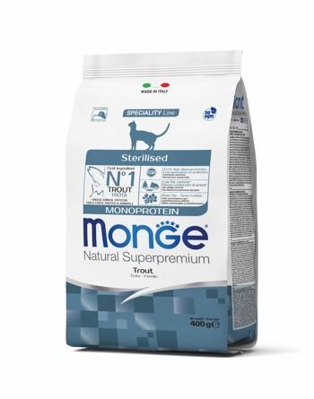 купить монж Monge Cat Sterilised Trout сухой корм для стерилизованных кошек с форелью