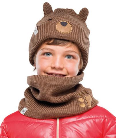 Комплект детский шапка-шарф вязанные Buff Funn Bear Fossil фото 1