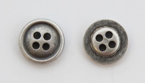 Пуговица металлическая, двусторонняя, цвет чернёное серебро, 12 мм