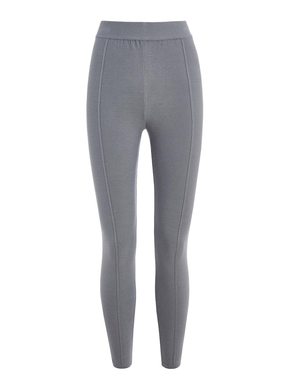 Женские брюки светло-серого цвета с рельефными полосками из вискозы - фото 1