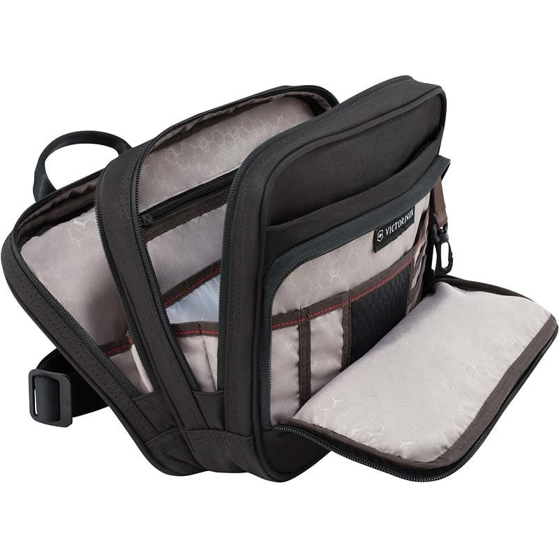 Сумка VICTORINOX Travel Companion горизонтальная с системой защиты от незаконного сканирования RFID, с возможностью ношения в 3 положениях, чёрная, нейлон 800D, 27x8x21 см, 4 л (31173901)