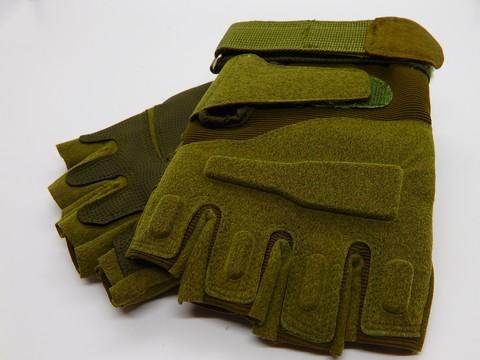 Перчатки тактические мягкие, без пальцев, олив.