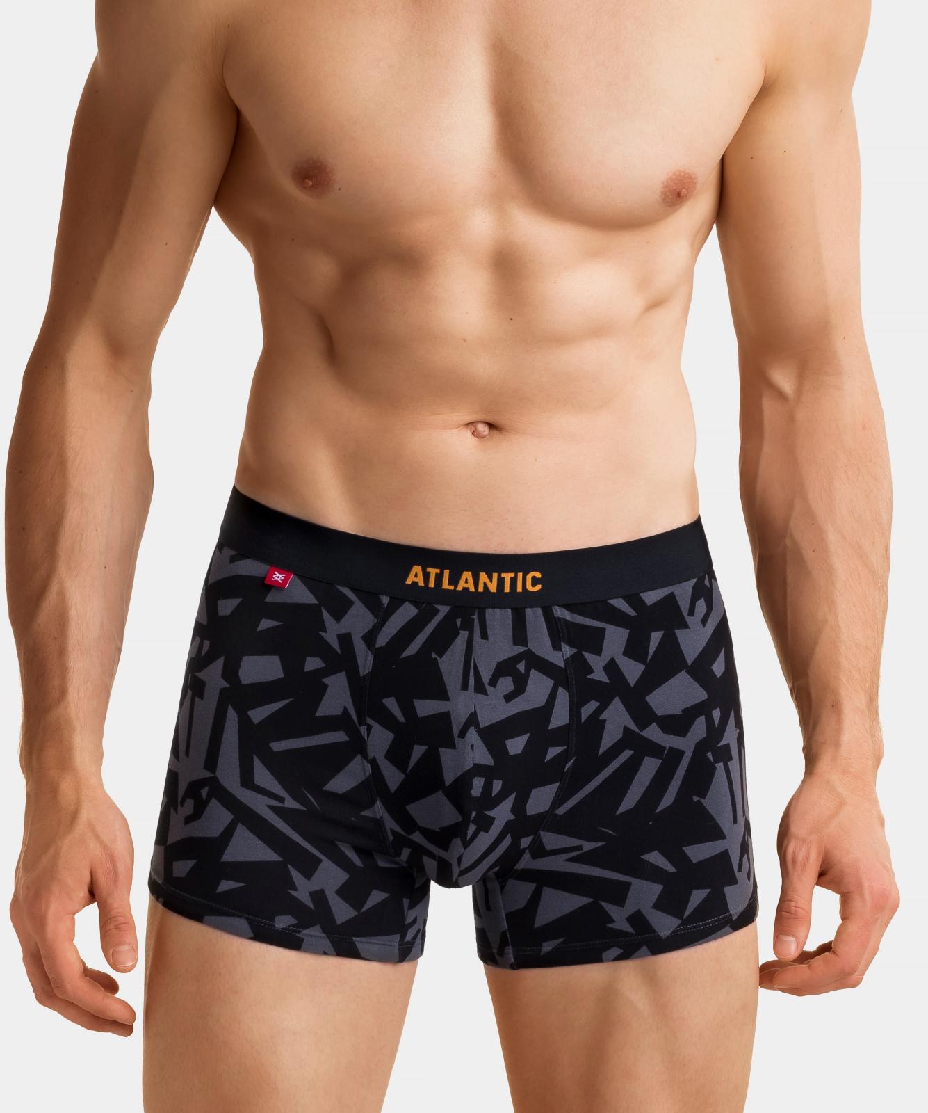 Мужские трусы шорты Atlantic, набор из 3 шт., хлопок, деним + черные + графит, 3MH-022