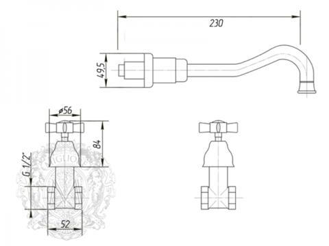 Смеситель для раковины настенный Migliore Princeton, ML.PRN-834 схема