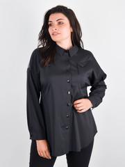 Николь. Женская рубашка для больших размеров. Черный.
