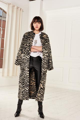 8PM Эко-шубка/пальто в анималистический узор