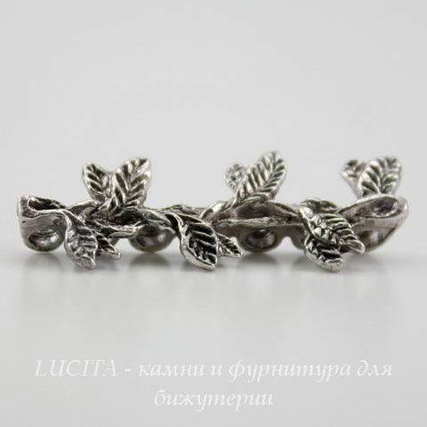 """Разделитель на 7 нитей """"Листики"""" (цвет - античное серебро) 31х12 мм"""