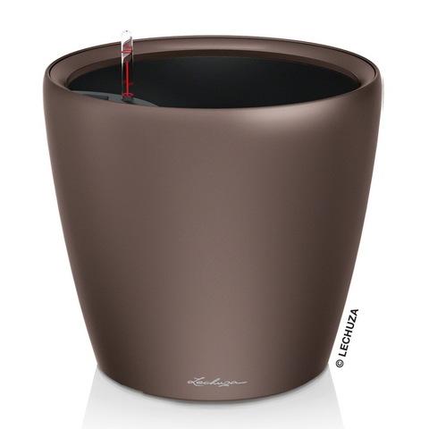 16041 Кашпо LECHUZA Классико 28 LS Кофе с системой полива и съемным горшком