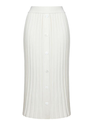 Женская юбка молочного цвета из шелка и кашемира - фото 1