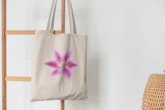 Сумка-шоппер с принтом Цветы (Лилии) бежевая 005