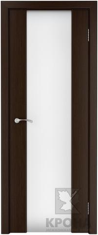 Дверь Крона Лаура , стекло триплекс белое (широкое), цвет венге, остекленная