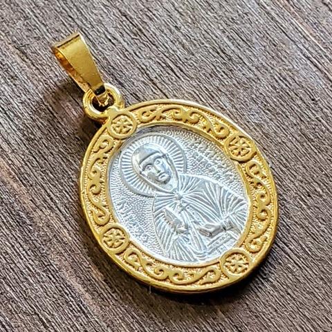 Нательная именная икона святая Калерия с позолотой кулон медальон с молитвой