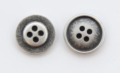 Пуговица металлическая, двусторонняя, цвет чернёное серебро, 18 мм