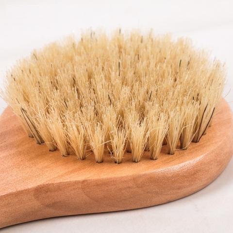 Щётка банная с ручкой, натуральная щетина 33 см х 8,4 см х 3 см