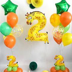 Воздушный шар (40''/102 см) Цифра, 2 Жираф, 1 шт.